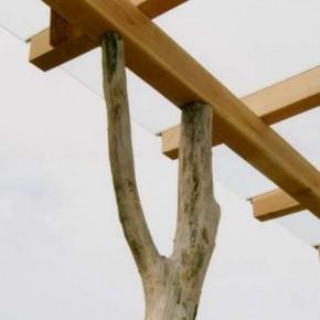 Detail Übergang Robinienpfosten auf die Pfette