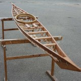 the finished oiled frame of the Greenland kayak