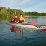 the two proud boatbuilder in their brandnew Greenland kayaks